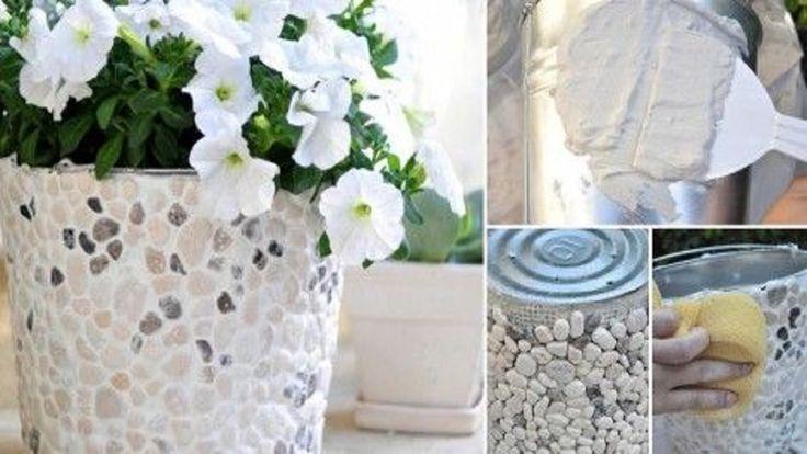 Cómo hacer macetas decoradas con yeso y piedras naturales paso a paso