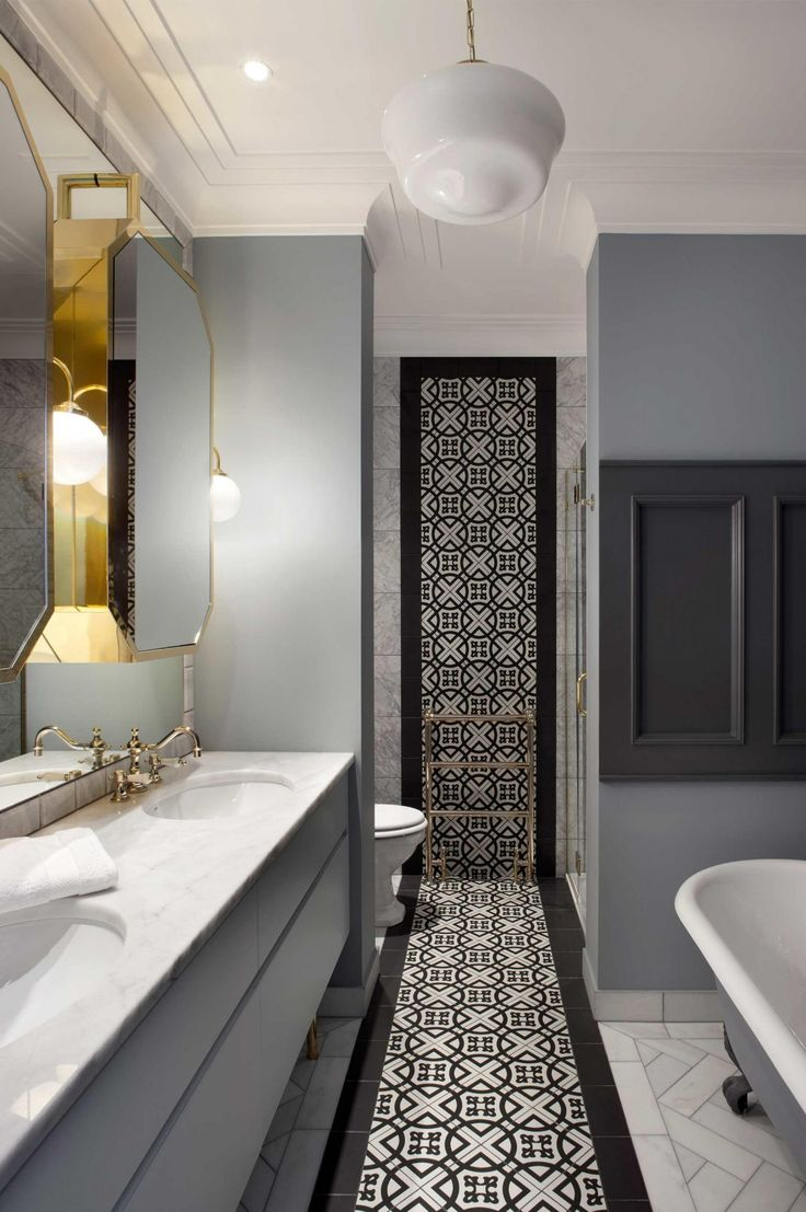 Bathroom vanities that are practical and so pretty. Photography by Barbara Corsico. Designed by Kingston Lafferty Design. (kingstonlaffertydesign.com)