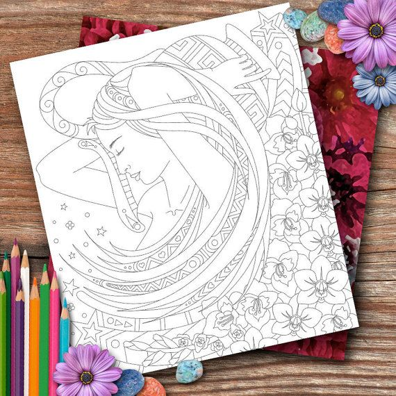Aquarius Flowers Colouring Page by OpulentOwlArtistry on Etsy