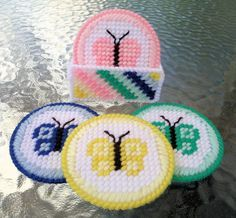 Butterfly Coasters_Plastic Canvas