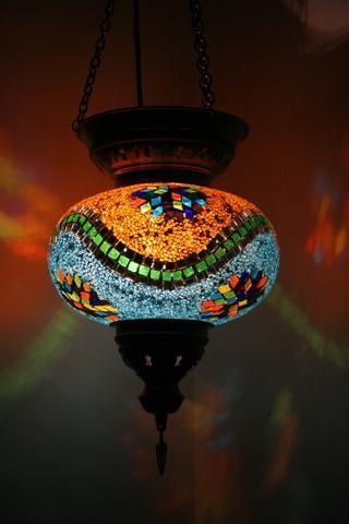 Orange & Blue Turkish Mosaic Lantern