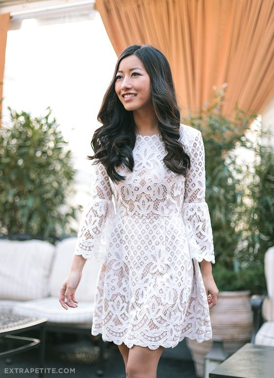 long sleeve white lace dress. perfect for a bridal shower!