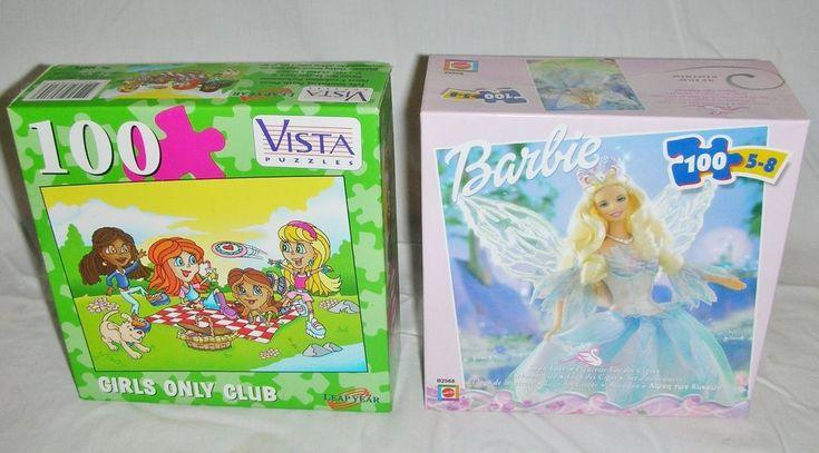 Mattel Barbie Swan Lake Princess & Vista Girls Only Club 100 pc Puzzles Sealed  #MattelVista
