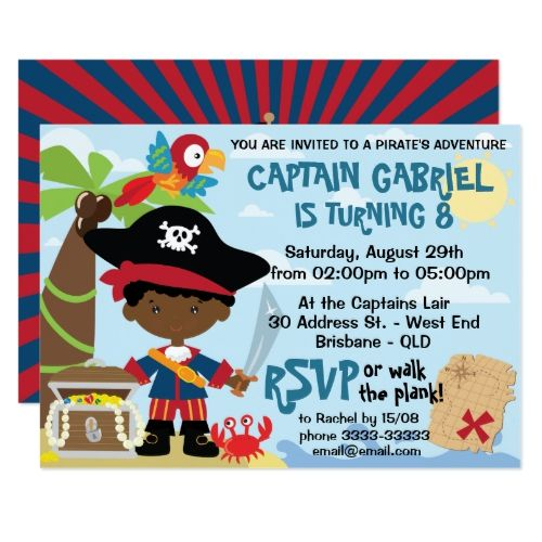 Cute African American Pirate Birthday Invitations