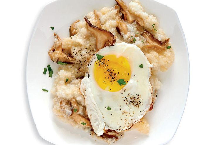 EGG WITH GRITS AND MUSHROOMS http://www.bicycling.com/food/nutrition/egg-based-mini-meals-for-cyclists/slide/2