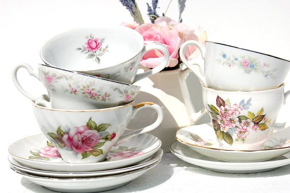 Lovely  Tea Cups and Saucers Set of 5. Mismatched Tea cup and saucer.Mismatched Tea Set.Tea Party,Bridal Shower,Birthday,Shabby Chic/Cottage