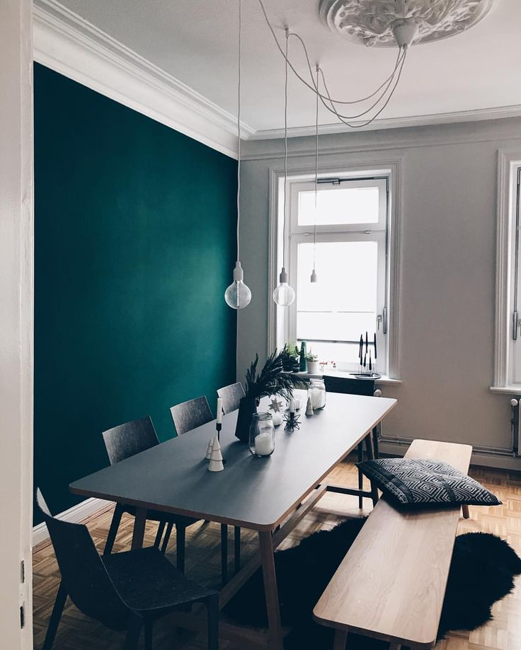 Love the color of this wall together with the light from the windows // home interior // home decor // wall paint // dining room
