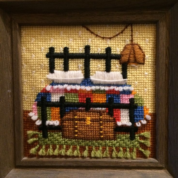 A needlepoint kit I made in the late 1970's, purchased from a cozy little needlework store on the square in Northfield, VT.
