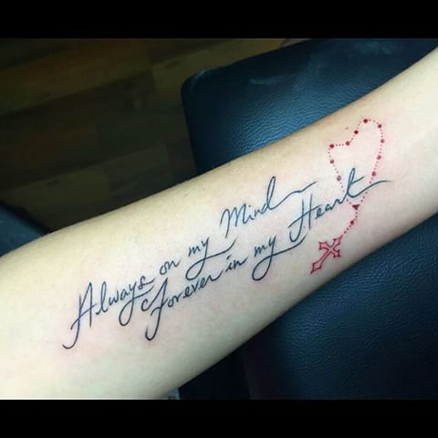 #Always on my #mind, #forever in my #heart <3 #handwritten on the #forearm with a little #rosary :) #jenxwritten #tattoo #tattoos #sgtattoo #sgtattoos #singaporetattoo #singaporetattoos #inked #create #design #art #girlswithtattoos#handwriting #script #scripttattoo #simple #simplethings #simpletattoo #christianity #christiantattoo #forearmtattoo #InstaSize