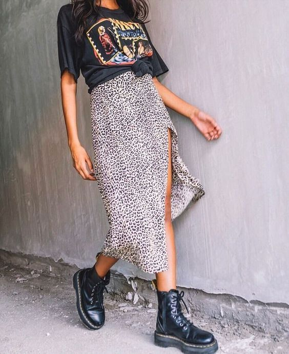 Spring outfit | Summer outfit | Leopard skirt | Leopard print | Midi skirt | Bla... 11