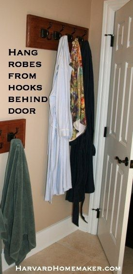 Use a hook rack behind the bathroom door for robes and towels.  #home #harvardhomemaker