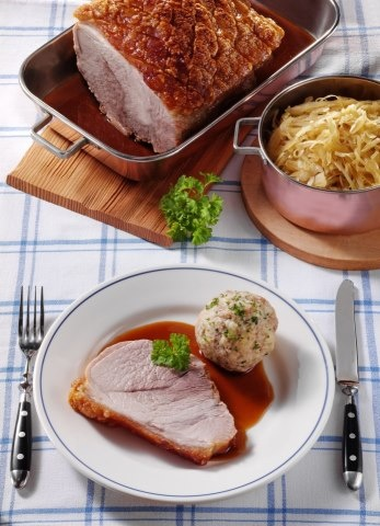 Pork Roast Bavarian style - with cabbage salad and dumplings.