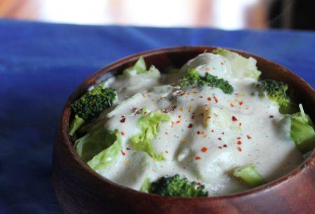 CAULIFLOWER-CANNELLINI ALFREDO SAUCE. Major Ingredients: Cauliflower, White Beans (ex. Cannellini), Shallot, Almond Milk