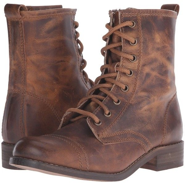 Steve Madden Charrie (Cognac Leather) Women's Lace-up Boots ($88) ❤ liked on Polyvore featuring shoes, boots, brown, platform boots, leather boots, lace up platform boots, combat boots and lace up boots