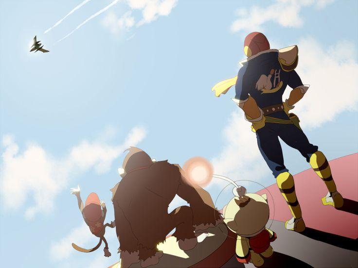 Super Smash Bros. Subspace Emissary scene of Diddy, DK, Cap. Flacon & Olimar waving goodbye to Falco fan art