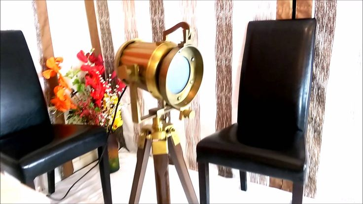 Odara - Wooden Floor Lamp with Brass Finish