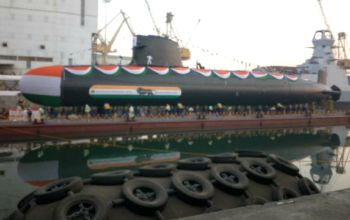 INS Khanderi Second Scorpene class submarine launched in Mumbai !! Have a Look