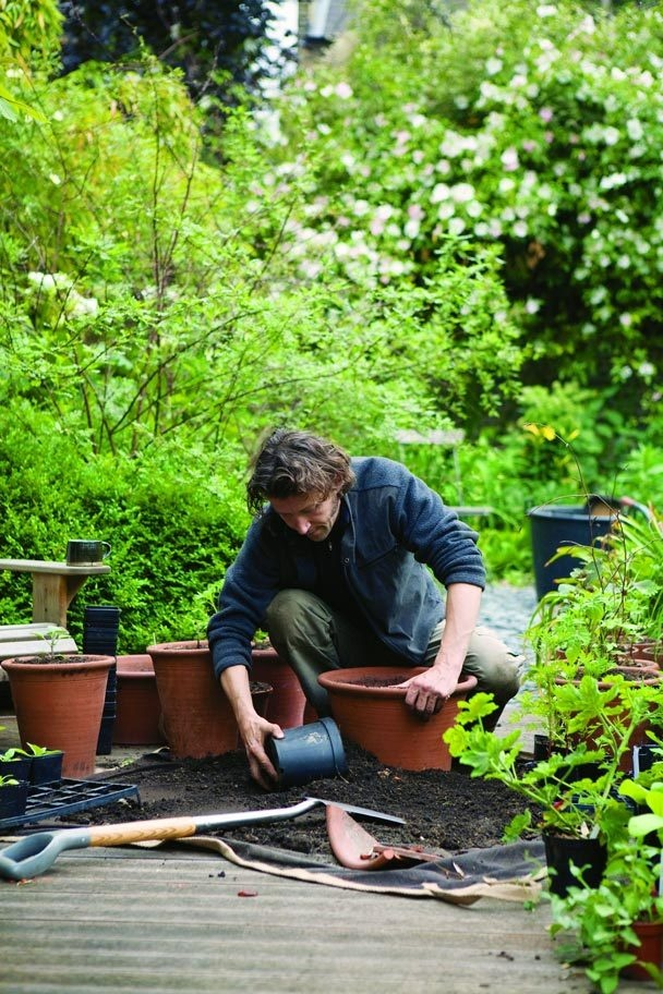 Uber-designer Dan Pearson's words about his own garden, you never doubt he's the guy who does the work. Here he's potting up pelargoniums and other tender perennials.