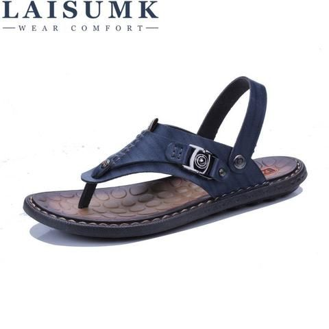 9997ff6b169c18 2018 LAISUMK Summer Genuine Leather Sandals Men Casual Sandals Leather  Beach Slippers Fashion Male Flip Flops