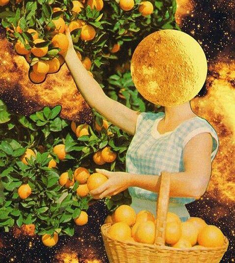 Cara de luna con naranjas