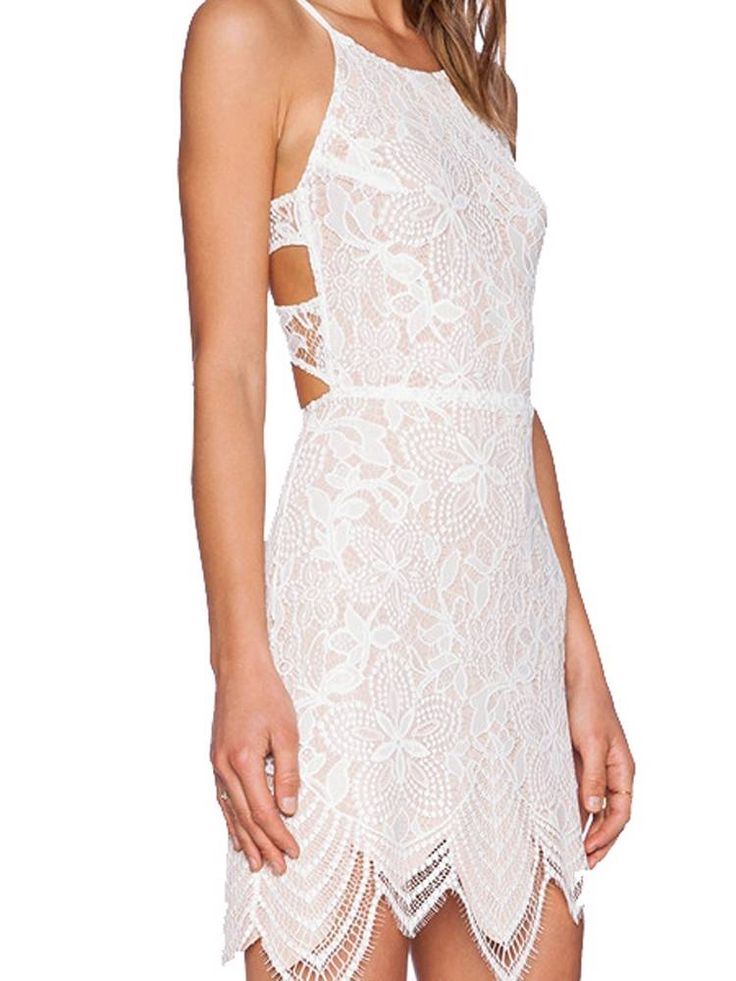 Sexy Backless Solid Color Lace Spaghetti Strap Dress