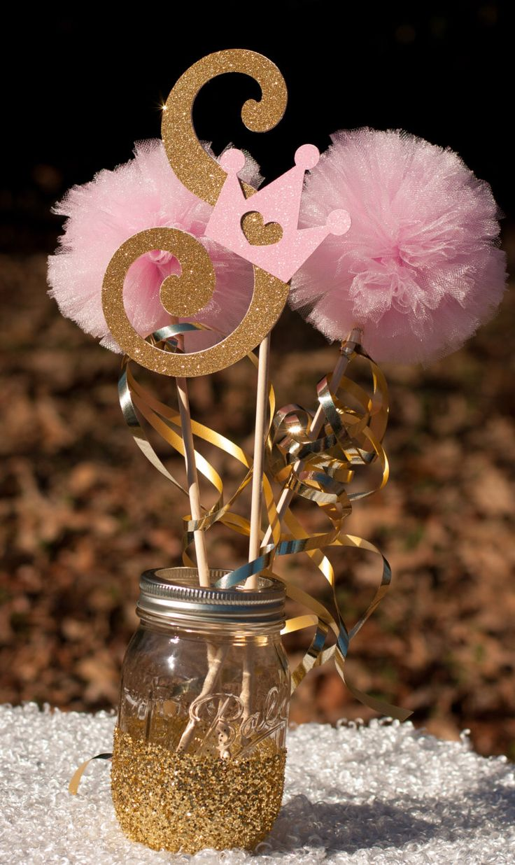 Princess Birthday Party Initial Pink and Gold Baby Girl Centerpiece Table Decoration by GracesGardens on Etsy https://www.etsy.com/listing/222415511/princess-birthday-party-initial-pink-and