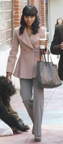 Kerry Washington as Olivia Pope. Dusty rose and grey. Love the color combo - I would just soften those lapel edges :-) meke