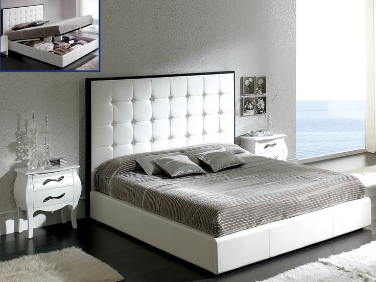 Dupen Penelope Bed White   Bed PU Leather, Storage Platform.