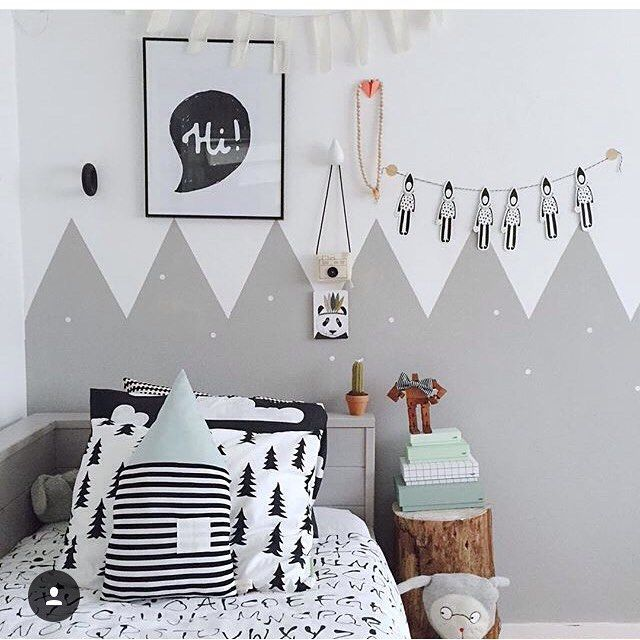 Amazing scandinavian kids room with funny poster as wall art.   Get inspired by my blog at http://reidunbeate.com                                                                                                                                                      More