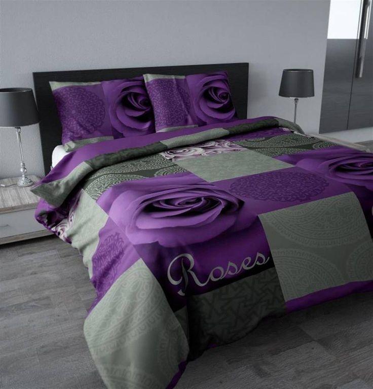 Slaapkamer grijs paars : Sleeptime Dekbedovertrek Paars met grijze vierkante design blokken