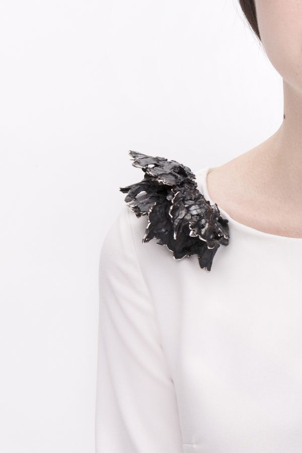 Sculptural shoulder brooch made with cast metals - contemporary jewellery design; art jewelry // Mian Wu