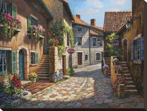 オールポスターズの ソン・キム「Rue de Village」キャンバスプリント