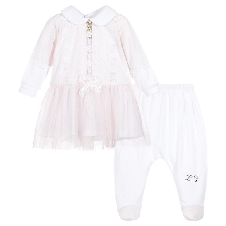 Girls two-piece babysuit from Ladia. This smart outfit is made in soft cotton jersey, with silk lace embroidery. The pretty dress has a jersey skirt with tulle overlay and bow detail at the waist. It has a peter pan collar and back popper fastening. The matching trousers are soft and stretchy, with an elasticated waistband, lace detailing on the feet and a diamanté logo.