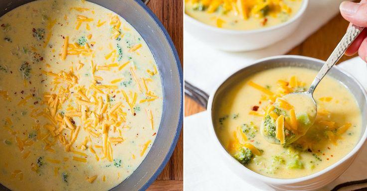 Recept na brokolicovou polévku s čedarem
