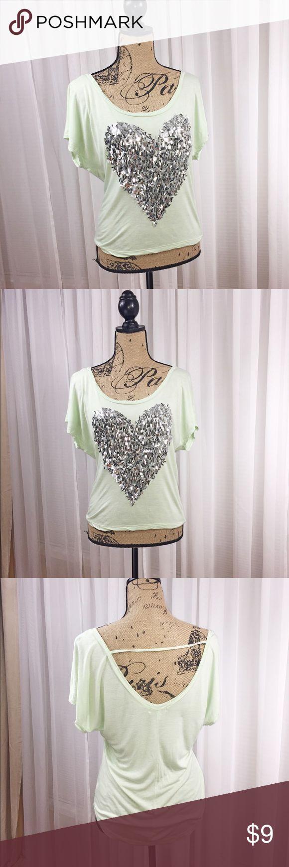 Delia's foil heart ❤️ design top Mint green top. Low cut back. Foil heart design. Fun shirt delia's Tops
