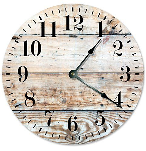"RUSTIC CLOCK Decorative Round Wall Clock Home Decor Wall Clock Large 10.5"" Novelty Clock PRINTED LIGHT TAN WOOD LOOK  #10.5 #Clock #Décor #Decorative #Home #Large #Light #Look #Novelty #Printed #Round #Rustic #RusticWallClock #Wall #Wood The Rustic Clock"