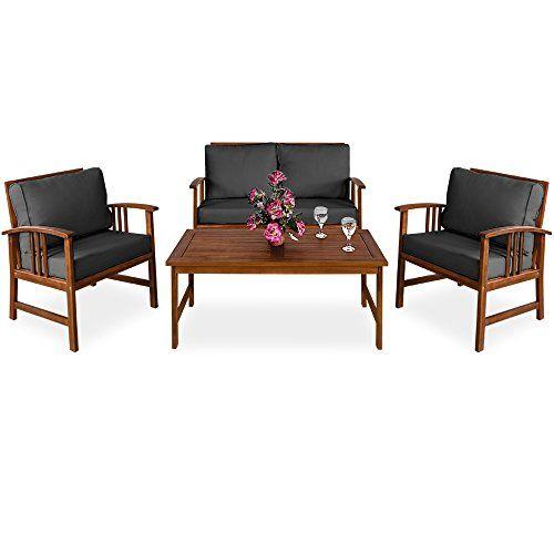 Deuba Salon de Jardin Atlas en Bois d\'acacia Table et chaises Gris ...
