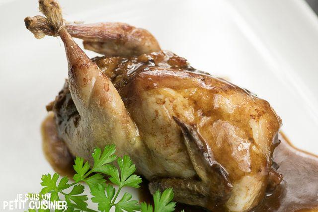 Cailles farcies au foie-gras et cèpes