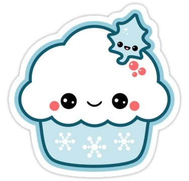 Super cute vinyl Christmas stickers with blue snowflake cupcake and happy holly leaf.