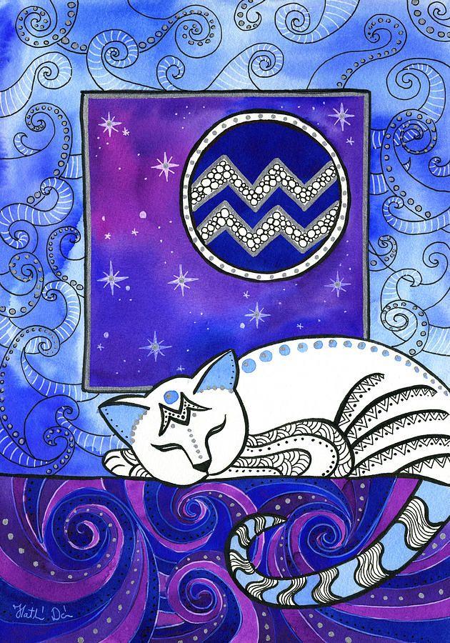 Acuario Dora Hathazi Mendes Aquarius Art Cat Painting Cat Art