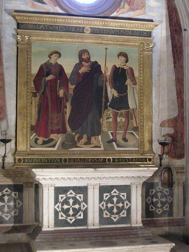 Cappella del cardinale di portogallo 02 altare con pala del pollaiolo (copia) - Category:Cappella del Cardinale del Portogallo - Wikimedia Commons