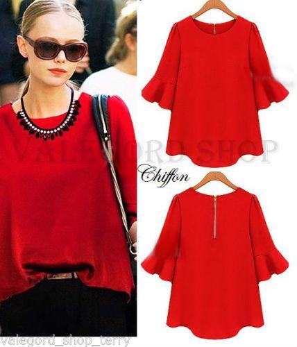 Top-blusa-chiffon-rosso-manica-volant-balze-classic-elegante-casual-moda-donna
