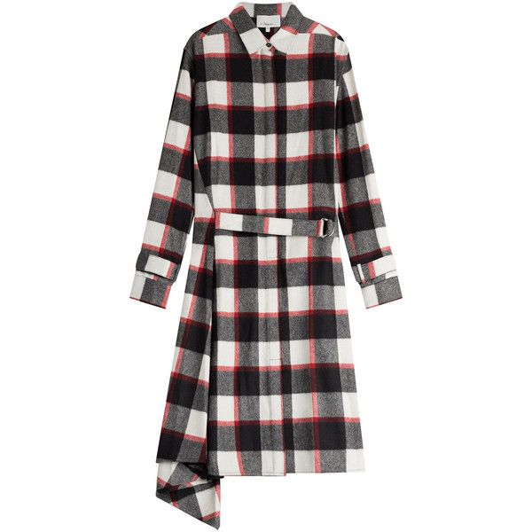3.1 Phillip Lim Wool-Angora Plaid Shirt Dress ($810) ❤ liked on Polyvore featuring dresses, multicolor, long sleeve wool dress, button front shirt dress, oversized dress, wool dress and shirt-dress
