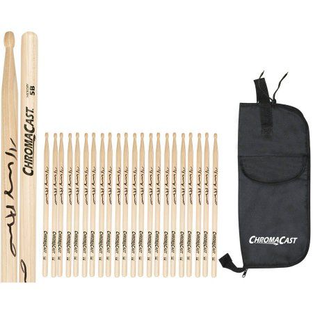 ChromaCast 5B USA Hickory Vinny Appice Autographed Drumsticks, 12 Pairs with Drumstick Bag