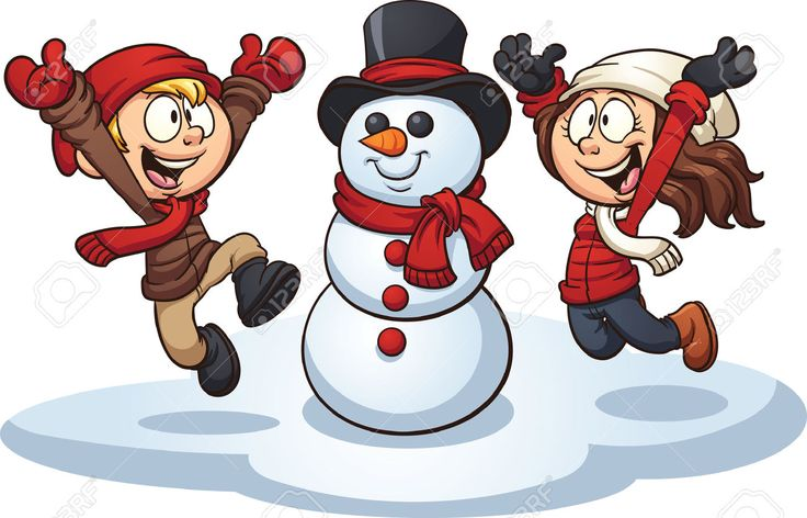 Cartoon kids building a snowman. Vector clip art illustration with simple gradients. Each element