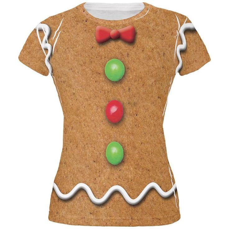 Gingerbread Man Costume All Over Juniors T Shirt