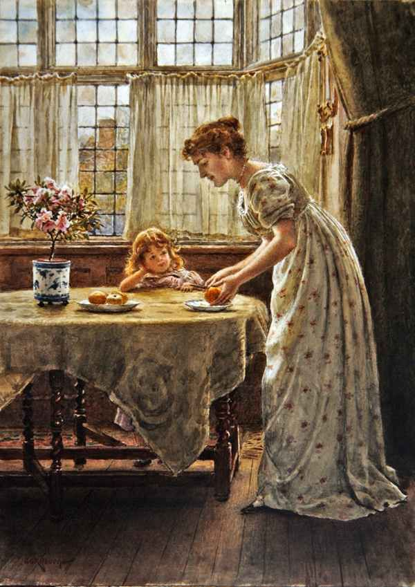 George Goodwin Kilburne (1839-1924) —  Afternoon Treat  (600x849)