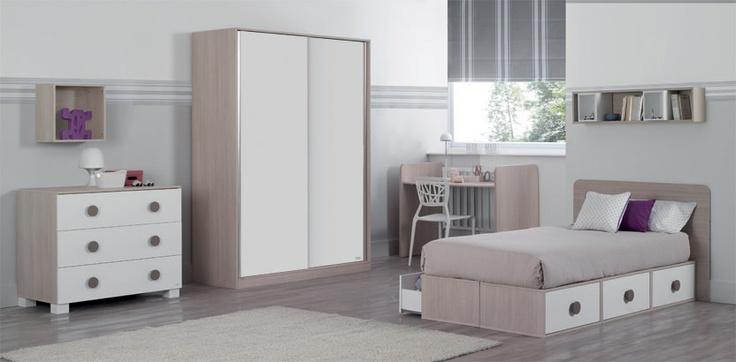 Habitación Juvenil Blanco-Cerezo Conversatil Issy
