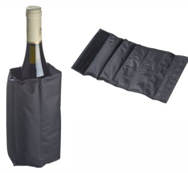 gel bottle cooler  This Gel Bottle Cooler has a velcro fastener and several cooling pads with cooling gel to keep wine cooler for longer.  #brandability #promotionalitem #winegift