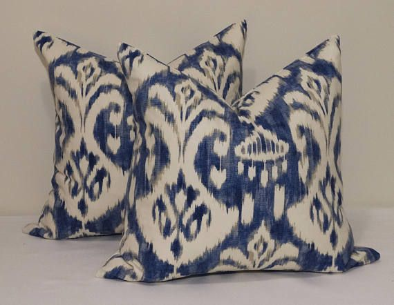 Check out this item in my Etsy shop https://www.etsy.com/au/listing/573497175/ink-blue-ikat-cushion-covers-vintage
